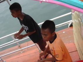 kleine musikalische Einlage, bevor das Boot ablegt