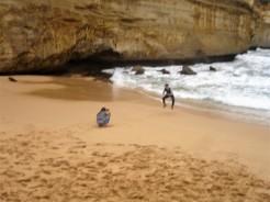 versuchte Pose am Strand