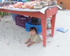 geschützter Platz am Strand